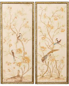 Pair of Chinoiserie Bird Panels
