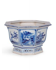Blue and White Porcelain Chinoiserie Design Octagonal Planter