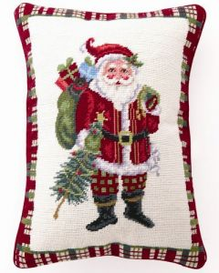 Christmas at North Pole Santa Needlepoint Holiday Pillow - ON BACKORDER UNTIL SEPTEMBER 2020