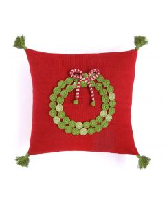 Christmas Wreath Handmade Holiday Pillow in Red- Call to Confirm Availability