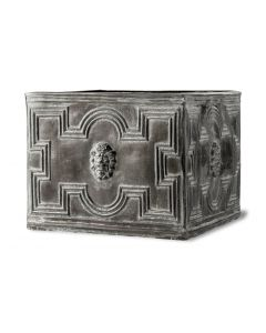 Christopher Outdoor Square Garden Planter With Lion Head Motif in Faux Lead - Available in Three Sizes