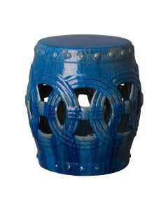Circle Linked Garden Stool with Dark Blue Glaze
