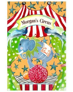 Circus Elephant on Ball Canvas Wall Art for Kids With Optional Personalization