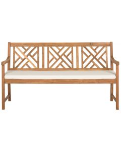 Classic Geometric Trellis Style Bradford 3 Seat Bench in Teak Brown Finish