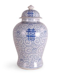 Classic Blue and White Porcelain Double Happiness Ginger Jar
