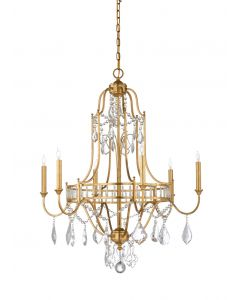 Classic Gold Leaf and Crystal 6 Light Chandelier