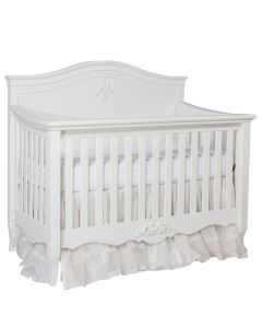 Classic Luxe Crib in Antico White With Cherub and Ribbon Details