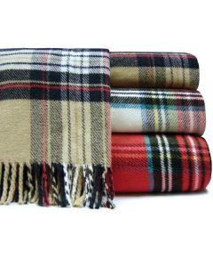 Classic Tartan Plaid Fringed Throw - Available in Three Different Colors - Can Be Personalized
