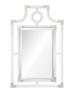 Clear Acrylic Geometric Wall Mirror with Silver Accents