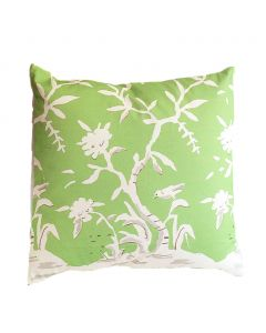 Cliveden Square Chinoiserie Pillow with Bird in Green