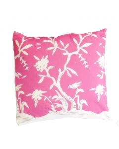 Cliveden Square Chinoiserie Pillow with Birds in Pink