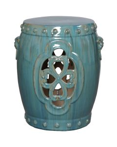 Clover Ceramic Garden Stool in Antique Blue Green - ON BACKORDER UNTIL LATE MAY 2019