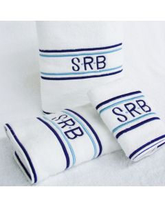 Blue Club Stripes Monogrammed Towel Collection