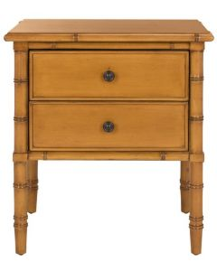 Coastal Bamboo Two Drawer Nightstand in Brown