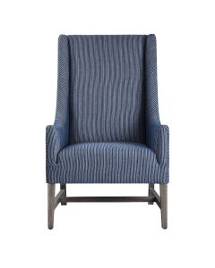 Coastal Style Blue and White Wingback Chair - ON BACKORDER UNTIL JUNE 2021