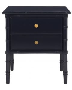 Coastal Two Drawer Bamboo Nightstand In Navy