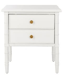 Coastal Two Drawer Bamboo Nightstand In White