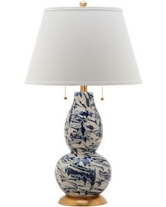 Set of 2 Christopher Marble Swirls Glass Table Lamps in Navy and White