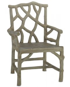 Concrete Tree Branch Design Outdoor Armchair in Faux Bois Natural Finish