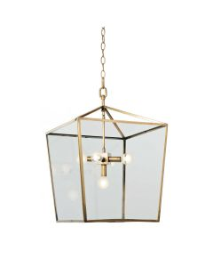 Contemporary 5 Light Natural Brass Lantern With Glass Panels