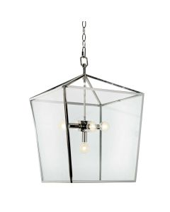 Contemporary 5 Light Polished Nickel Lantern With Glass Panels