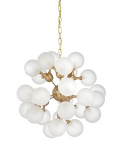 Contemporary Gold And Opaque Globe Cluster Chandelier - OUT OF STOCK