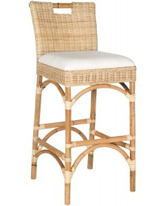 Contemporary Rattan Bar Stool in Natural