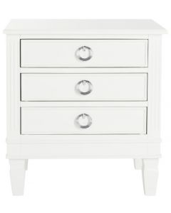 Contemporary Three Drawer Nightstand in White With Chrome Hardware