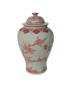 Coral Red Plum Tree Temple Jar