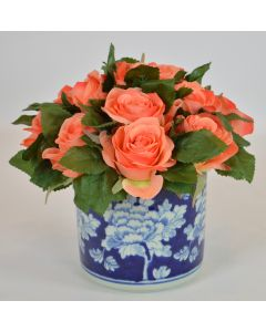 Coral Rose Faux Floral Arrangement in a Blue Porcelain Container