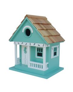 Cottage Birdhouse with Sea Horse Design in Aqua