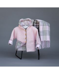 Cotton Seedstitch Hoodie for Kids Lined in Plaid