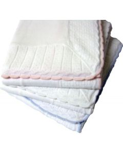 "Cotton Jersey Baby Blanket with Knitted Color - Tipped Pointelle Border - 45"" x 45"""
