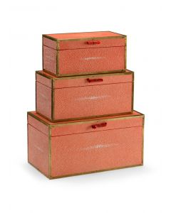 Cousteau Faux Shagreen Decorative Boxes in Coral
