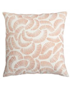 Cream Cotton Decorative Pillow with Peach Pink Embroidery