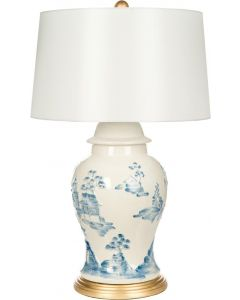 Bradburn Home Asia Minor Cream and Blue Table Lamp With Gold Base