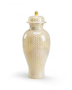 Cream and Gold Glazed Ceramic Herringbone Vase