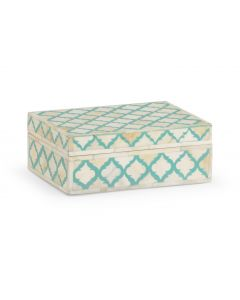 Cream And Turquoise Bone Inlay Decorative Box