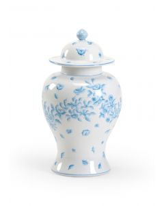 Cream Ceramic Covered Urn With Robins Egg Blue Floral Design - LOW STOCK