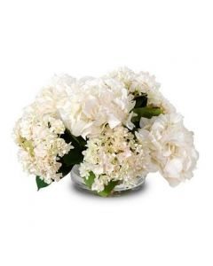 Cream Colored Faux Hydrangea Arrangement in Glass Container