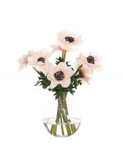 Cream Pink Faux Anemone in Glass Bubble Container