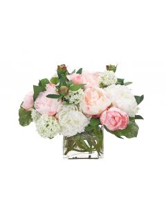 Cream & Pink Faux Peony Arranged in Glass