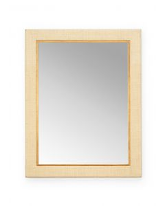 Cream Raffia Rectangular Wall Mirror With Wood Trim