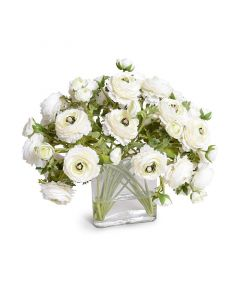 Cream White Faux Ranunculus Bouquet in Glass Envelope
