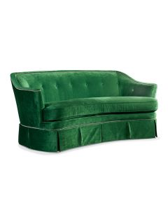 Crescent Front Green Velvet Upholstered Sofa with Nailhead Trim