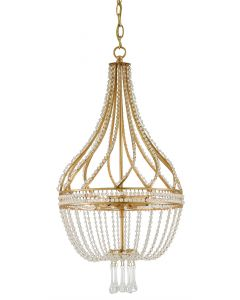 Currey & Company Ingenue Crystal Beaded Chandelier in Antique Gold Leaf Finish