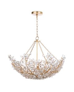Crystal Flower Chandelier With Gold Leaf Frame - ON BACKORDER UNTIL MAY 2020