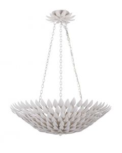 Six Light Matte White Pendant Petal Leaf Chandelier