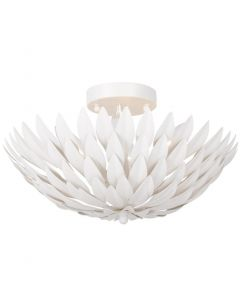 Four Light Matte White Petal Leaf Floral Ceiling Mount
