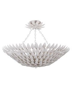 Six Light Matte White Petal Leaf Flower Ceiling Mount